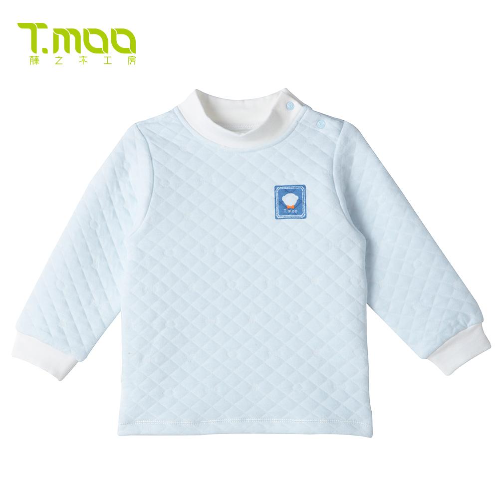 藤之木工房宝宝上衣婴儿保暖内衣儿童加厚婴幼儿服装秋冬款肩开衫